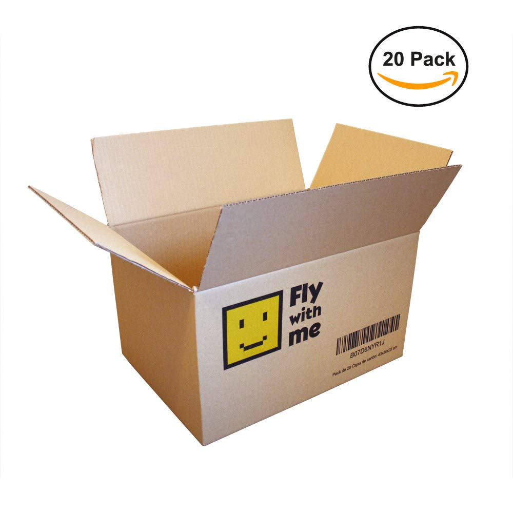 Pack of 20 High Quality Brown Cardboard Boxes / Single Channel Reinforced / Dimensions 43 x 30 x 25 cm Alifan Ecommerce S.L.