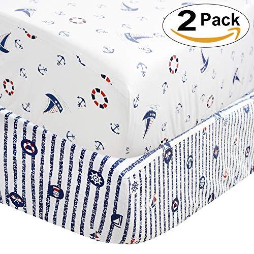 Brandream Blue Crib Sheet Set Boys Toddler Sheet Set 2 Pack Baby Crib Mattress Sheets Set White Navy Nautical Anchor Printed