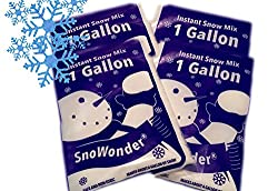 SnoWonder Instant Artificial Snow - Mix Makes One Gallon - Perfect Slime - Bonus Projects eBook - Home Decor - Seasonal Accents - Classroom Science Projects