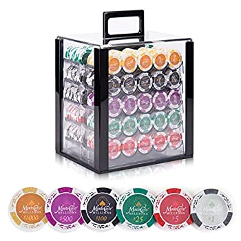 Image of ALPS Monte Carlo Casino Poker Set 14 Gram Chips 1000PCS Chips with Acrylic Display Case, 500PCS Chips with Aluminum Case Poker Sets