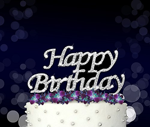 Happy Birthday Cake Topper, Crystal Rhinestones on Silver Metal, Party Decorations, Favors