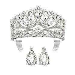 Women Silver Rhinestone Crystal Crown Set