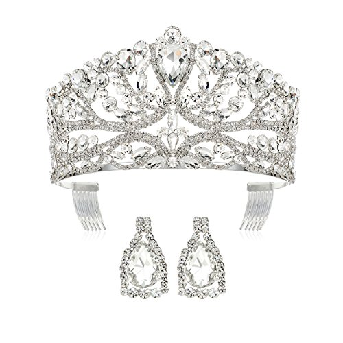 - DcZeRong Princess Queen Tiara Crowns Rhinestone Crystal Adult Women Birthday Pageant Prom Silver Crown
