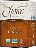 Choice Organic Caffeine Free Ginger Herbal Tea,  16 Count Box