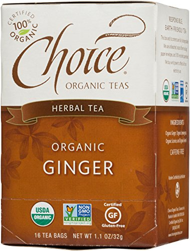 Choice Organic Teas Caffeine Free Herbal Tea, Ginger, 16 Count