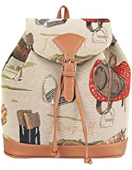 Signare Women's Tapestry Flap Buckle Pull String Fashion Casual Rucksack Backpack Bag in Horse Design (RUCK-HOR)