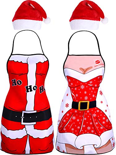 Jovitec 4 Pieces Christmas Party Kits, Include 2 Pieces Santa Aprons Xmas Apron and 2 Pieces Red Santa Hat for Christmas Party Costume -