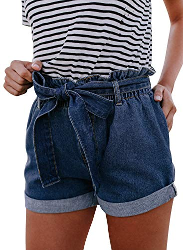 Sidefeel Women Paper Bag Waist Rolled Denim Jean Shorts 2XL Blue