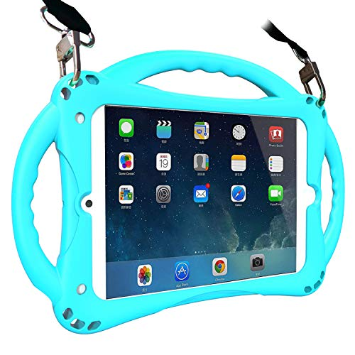 TopEsct iPad Mini 4 Case for Kids, Soft Silicone Childproof Handle Stand Case for iPad Mini 4(A1538,A1550),Comes with Shoulder Strap(Mini4,Sky Blue)