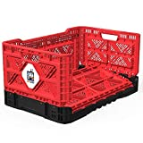 BIGANT Heavy Duty Collapsible & Stackable Plastic Milk Crate - IP543630, 12.7 Gallons, Medium Size, Red, Set of 3, Snap Lock Foldable Industrial Garage Storage Bin Container Utility Tote Basket