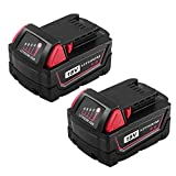 M18 Replacement Battery for Milwaukee 18V 6.0Ah XC Lithium M18B 48-11-1820 48-11-1828 48-11-1840 48-11-1850 Cordless Power Tools 2Packs