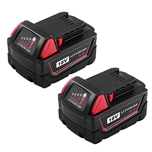 M18 Replacement Battery for Milwaukee 18V 6.0Ah XC Lithium M18B 48-11-1820 48-11-1828 48-11-1840 48-11-1850 Cordless Power Tools 2Packs by Topbatt