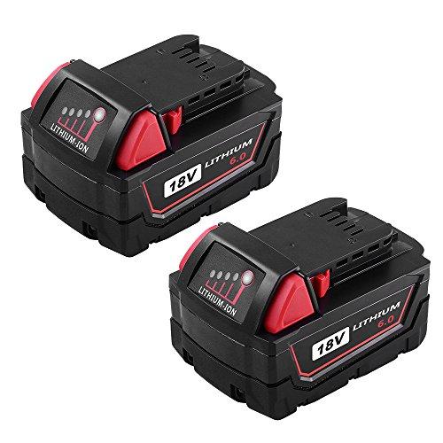Topbatt Replace for Milwaukee M18 Battery 18V 6.0Ah XC High Capacity Lithium M18B 48-11-1820 48-11-1828 48-11-1840 48-11-1850 Cordless Tools 2Packs by Topbatt