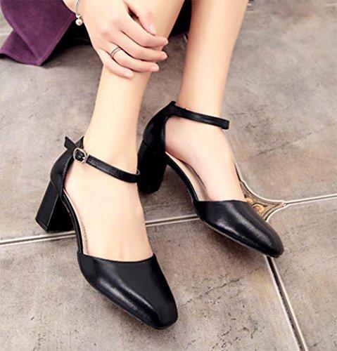 Sommer hochhackige Sandalen mit dicken Schuhen black
