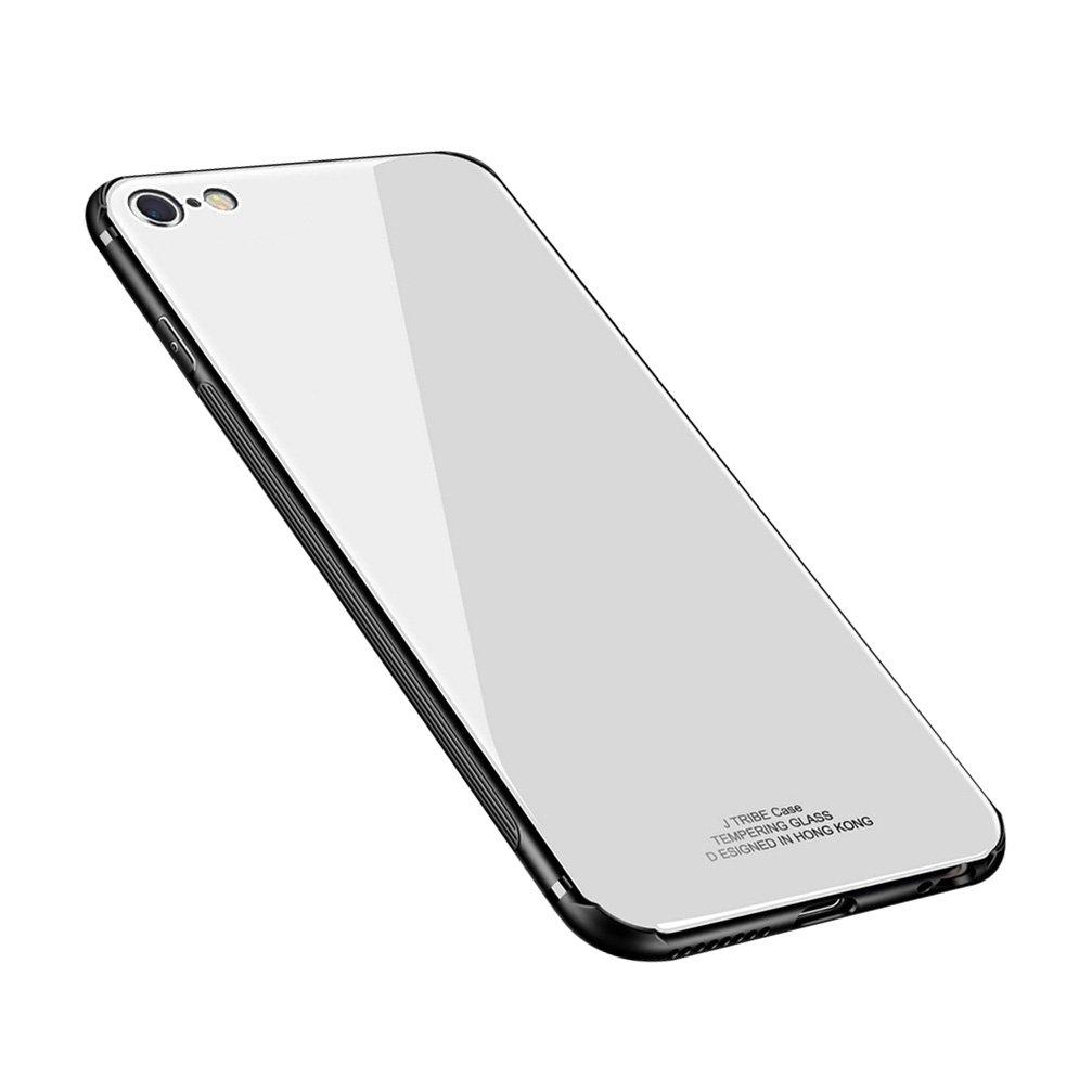 ANERNAI iPhone 6 Plus Case Tempered Glass Back Cover + Soft TPU Bumper Scratch-Resistant Shock iPhone 6plus(White)