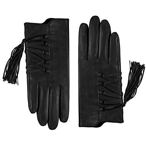 Fioretto Winter Womens Genuine Leather Gloves Touchscreen Cashmere Lined Italian Goatskin Tassels Leather Gloves For Driving Black Wool 7