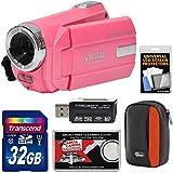Vivitar DVR 508 NHD Digital Video Camera Camcorder (Bubble Gum Pink) with 32GB Card + Case + Kit