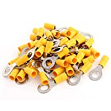 Aexit 50pcs Yellow Machine Cable Connector Sleeve Pre Insulated Ring Terminal RV5.5-8 for AWG 12-10 Wire
