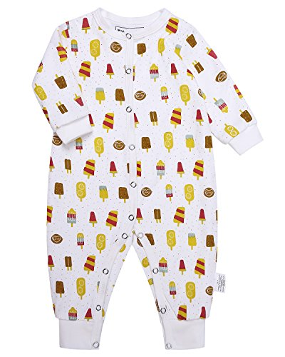 One Piece Outfit (Kidsform Infant Baby Boys Girls Cotton Print Thicken Footless Romper Bodysuits Jumpsuit Outfits Ice Cream 12-18M)