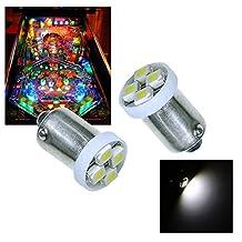 PA? 10PCS #1893 #44 #47 #756 #1847 BA9S 4SMD LED Wedge Pinball Machine Light Bulb White-6.3V by PA LED