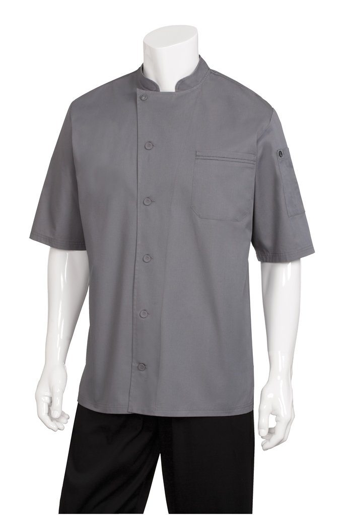 Chef Works Mens Valais Short Sleeve Chef Coat, Gray/Black, Medium by Chef Works
