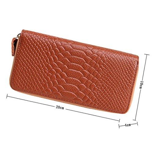 Pu lunga Acmede modello carte Marrone porta tasca per 8 multifunzione con di molti zip pelle grande Portafoglio capacità Lady scelta ragazza colori rosa donna in bagagli Croc qqfrz6F