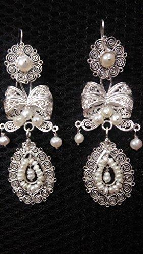 Silver earrings, filigree oaxaca, Large gardens Filigree Garden
