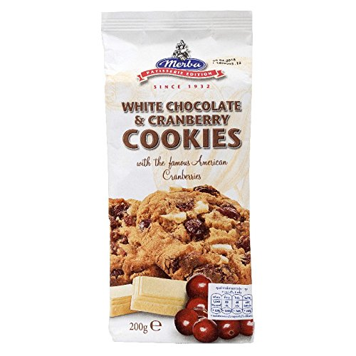 Merba, White Chocolate & Cranberry Cookies, net weight 200 g (Pack of 1 piece)