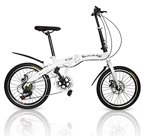 Outroad Folding Bike 7-Speed 20-inch Carbon Steel Urban Commuter Bicycle White