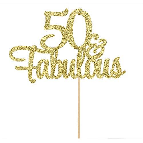 50 & Fabulous Cake Topper, Gold Glitter Happy 50th Birthday,