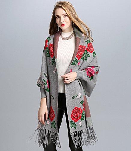 Châle Femmes De Mode Grand Cardigan Wanyang Gland Gris En Élégant Echarpe Manteau Impression Tricot znZZCdqUxR