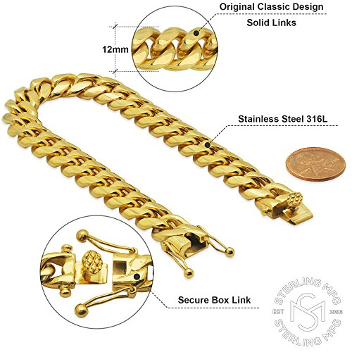 Premium 14KT Gold Plated Stainless Steel Heavy Solid Miami Cuban Link Chain. Secure Box Lock. 30'' Necklace or 8.5'', 9'' Bracelet by Sterling Manufacturers (Image #2)
