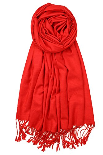 Achillea Bamboo Rayon Feel Soft Silky Pashmina Solid Shawl Wrap Scarf (Red)