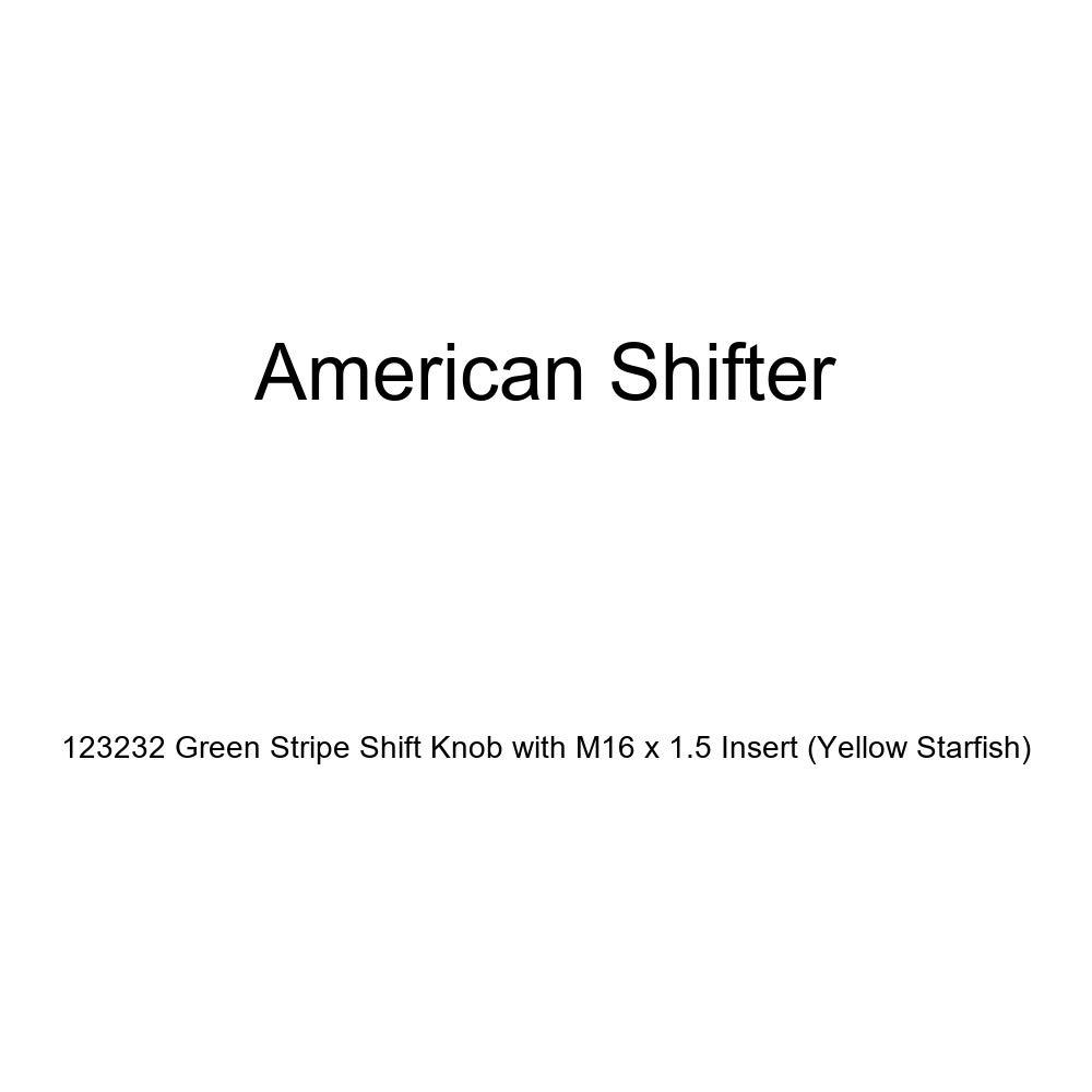 Yellow Starfish American Shifter 123232 Green Stripe Shift Knob with M16 x 1.5 Insert