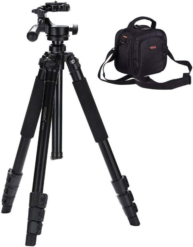 Color : Black, Size : High 175Cm Portable Camera Tripod Triangle Holder Extendable Monopod 4-Section Monopod-Travel Camera Tripod with Professional Camera Bag