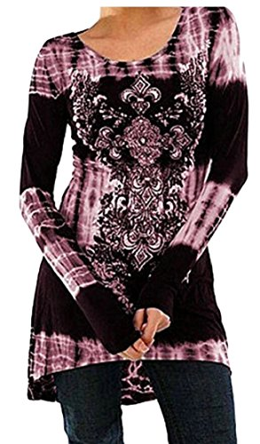 Purple New Long Sleeved Printing Fashion XS Jaycargogo Women Dress Collar Club Swing gBwvf6fq