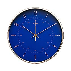 "Luxury Modern 12"" Silent Non-Ticking Wall Clock with Rose Gold Frame (Royal Renaissance Blue)"