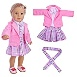 Doll's 4PCS Sport Clothes School Uniform - white shirt+plaid tie+plaid dress+coat, UPXIANG Student Clothing Pleated Dress Uniform Outfit for 18 inch Our Generation American Girl Doll By UPXIANG (Pink)