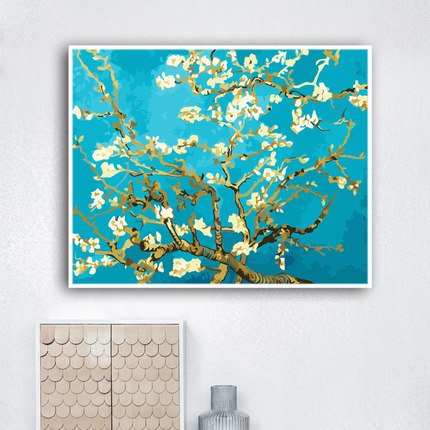 Faraway Almond Blossom Apricot Blossom by Van Gogh DIY Oil Painting, Paint by Number kit, Worldwide Famous Oil Painting 1620 inch