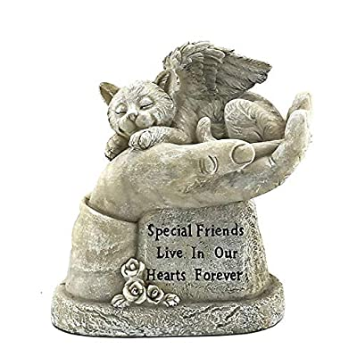 Bellaa 22892 God's Hands Cat Pet Grave Memorial Outdoor Garden Statue 8 Inch Antique Stone Sympathy Sleeping: Home & Kitchen