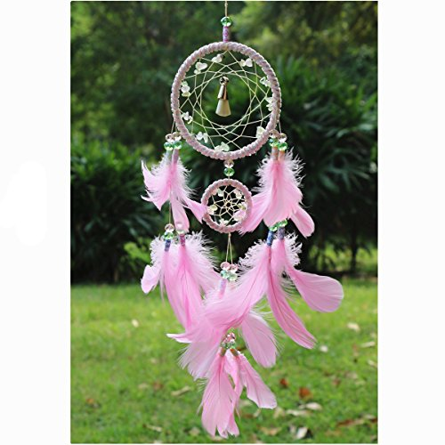 Dream Catcher Handmade Wind Chime Wall Hanging Decoration Ornament Pink