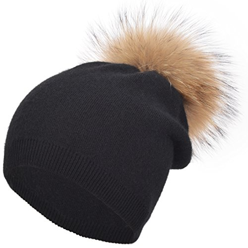 Real Wool (EASTER BARTHE Womens Grils Pure Double-Deck Cashmere Wool Blend Removable Raccoon Fur Pompom Winter Warm Knit Beanie Slouchy Skull Hat Cap (Black))