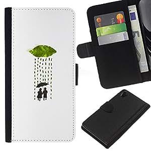 KLONGSHOP // Tirón de la caja Cartera de cuero con ranuras para tarjetas - Lluvia Paraguas minimalista Amor Pareja - Sony Xperia Z2 D6502 //