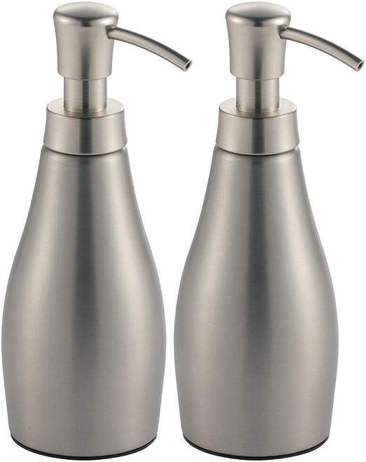 mDesign Modern Metal Refillable Liquid Soap Dispenser Pump Bottle for  Bathroom Vanity Countertop, Kitchen Sink - Holds Hand Soap, Dish Soap, Hand  ...