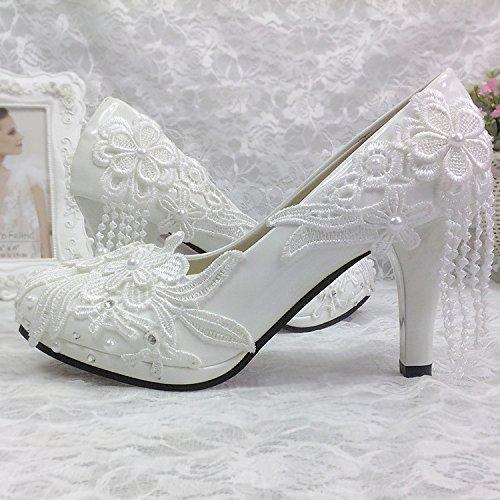 Blanc UK3.5 JINGXINSTORE Mariage dentelle Rhinestone Pearl High-Heeled Tassel ronde poignée suite nuptiale de Mariage de demoiselle Mariage Cristal Chaussures femmes