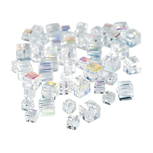 Clear Cube AB Cut Crystal Beads (48 Pcs. Per Unit) - 4mm-6mm - Beading Supplies & Beads (48 Glass Units)