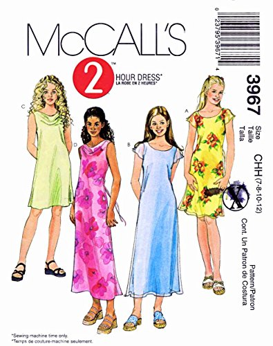 (McCall's Sewing Pattern 3967 Girls Size 7-12 2 hour Dress Pullover Lined Unlined Summer)