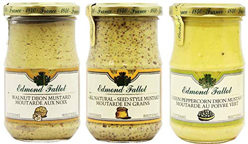 Edmond Fallot Mustard 3 Pack Assortment of Three Popular Flavors, Walnut Dijon, All Natural Seed Style and Green Peppercorn (7 Ounce Bottle of Each)