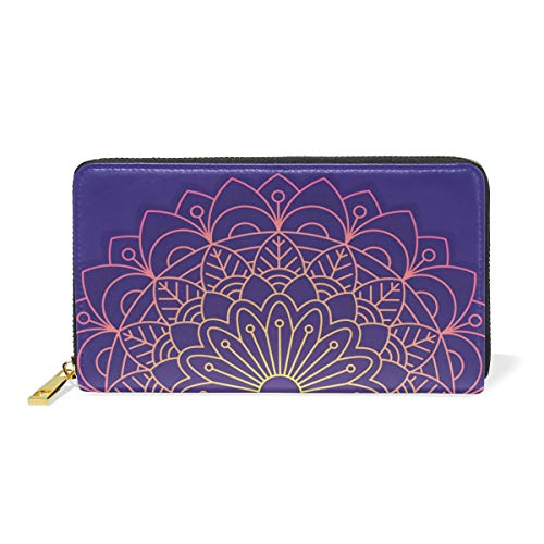 LALATOP Ornamental Round Lace Pattern Genuine Leather Zipper Wallets Clutch Coin Phone for women