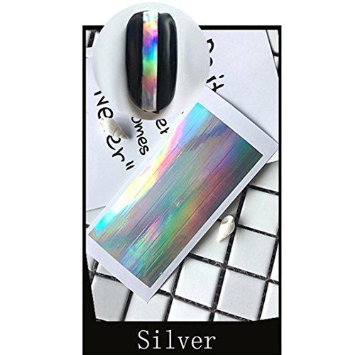 GreatFun Multiple-Use Nail Art Gold Silver Stencil Stickers Glue Manicure Decor (silver)